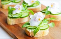 sandes snack de flores comestíveis